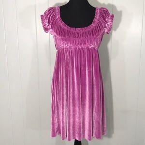 Free People purple velvet Peasant Dress Small